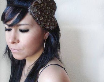 hippie feather headband - bohemian feather fascinator - feather hairband - women's boho accessory - feather hair piece - GIANNA