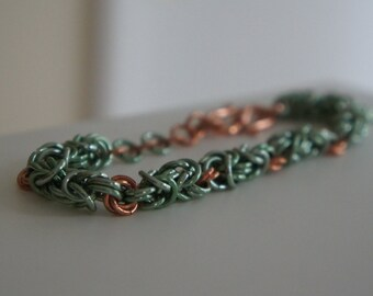 Seafoam and Copper Rosette Chainmaille Bracelet