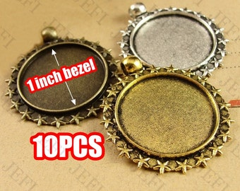 10 Pendant Trays- Alloy Filigree Frame 25mm Round Bezel Setting W/ Ring, 3 Colors- Antique Bronze/ Antique Silver/ Antique Gold, HA3796