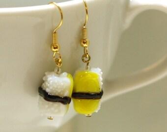 Yellow Sushi Glass Lampwork Bead Earring - Fun Food Jewelry Accessories