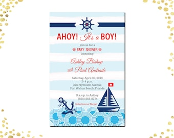 Qty. 25 Boy Baby Shower Invitations Nautical Baby Shower Invitations Boy Nautical Baby Shower Invitations