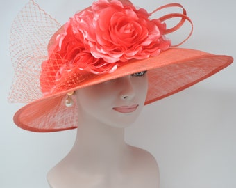 Coral Pink Kentucky Derby Hat, Church Hat, Wedding Hat, Easter Hat, Tea Party Hat Wide Brim Woman's Sinamay  Hat