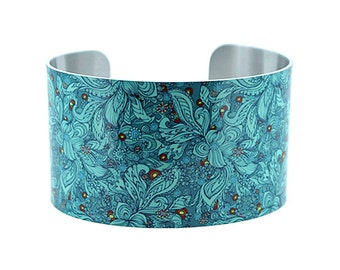 Statement cuff bracelet, floral teal wide metal bangle, boho chic, unusual jewellery gifts, secret message jewelry, gifts for her. C137