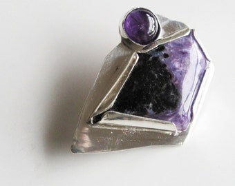 Purple Brooch: Russian Charoite and Amethyst on Bold Sterling Pin Pantone Color of the Year