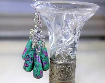 Ruby in Fuchsite earrings, chandelier earrings, Tibetan silver earrings, dangle earrings, green earrings, ruby earrings