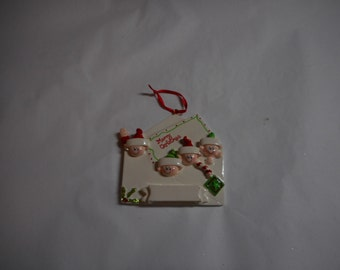 Letter Elf Family of 4 Personalized Ornament