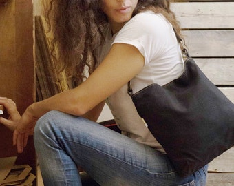 black canvas purse, vegan shoulder purse, small purse, vegan purse, hobo purse handbag, black evening bag, evening purse, womens handbags