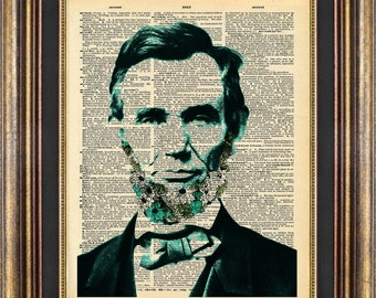 Abraham Lincoln FLOWER BEARD Dictionary Page Original Unique giftt book page art print up cycled