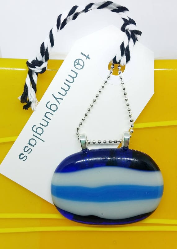 Blue Stripes Glass Pendant with Chain
