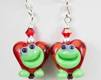 Be My Valentine Turtle Heart Lampwork Bead Earrings