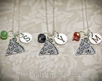 Pizza Slice Necklace, Personalized Friendship Necklace with Birthstone and Initial, Pizza Friends Forever, Pizza Slice Charm, BFF Necklace
