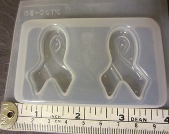 Resin Mold Pink Ribbon 40mm 2 Count Pendant Earrings Chocolate Fondant
