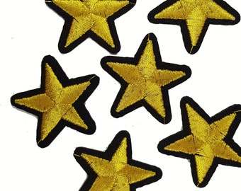 5 PCS Iron On Gold Embroidered STARS Patch Appliques for DIY Fashion Crafts