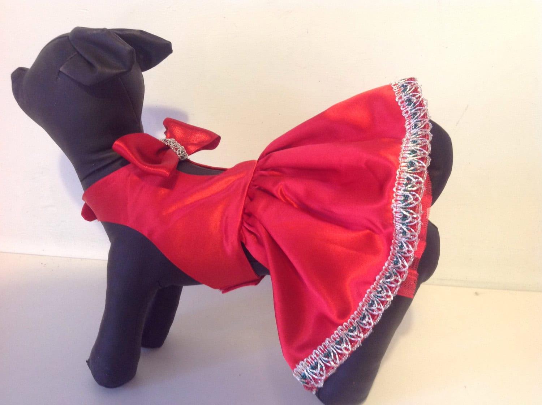 Rot Satin Xmas Partei Hund Kleid für alle kleine Hunde