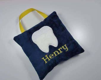 Hanging Tooth Fairy Pillow -Tooth Shaped Pocket- your choice of colors and fonts -  Name Embroidered below tooth