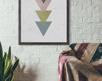 Triangle Print, Industrial Wall Art, Geometric Print, Abstract Print, Modern Art, Mid Century Poster, Cafe, Loft Art Print, Minimalist, D023