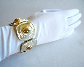 Argent & or Bracelet Chunky gras Style étrusque moderne mi siècle mode déclaration accessoire Bracelet or Luxe élégant cadeau pour elle