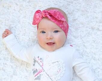 """Baby Bow Headband, Baby Girl Headband, Baby Headwrap, Pink Blossoms, Baby Knot Headband, Newborn, Infant, Girl, Headbands,  """"Leonore"""""""