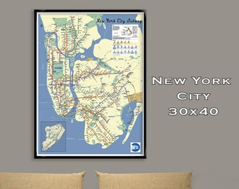 New York City Subway Map Poster.30x40 Fine Art Print. Tube Map, Map Art, Metro Map, Subway, NYC Map, Subway Art, NYC Map Updated 2017
