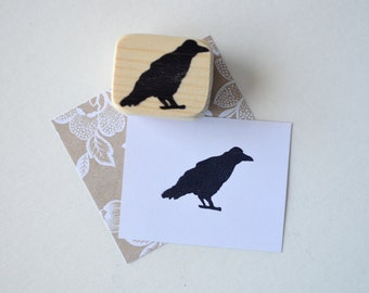 Raven Hand Carved Stamp Mounted on Reclaimed Wood- Crow Stamp - Halloween - Edgar Allan Poe Stamp- Bird Stamp