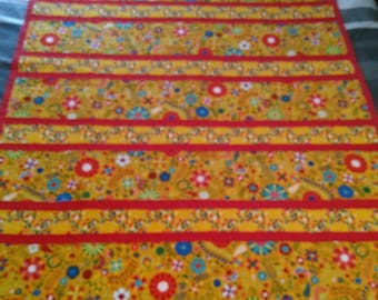 Bright Flowered Youth/Baby Quilt  52 X 42