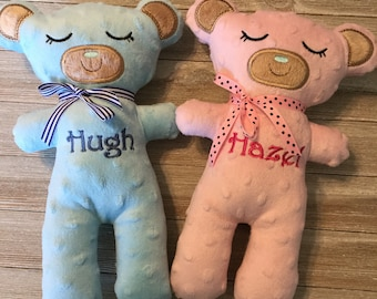 Teddy Bear, Stuffed toy, softie, Baby toy, handmade, baby gift, baby shower, new baby, embroidered, baby shower gift, baby boy, baby girl