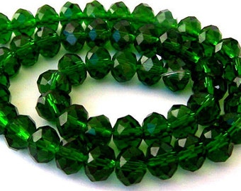 12 deep emerald green beads, 12mm rondelles, Chinese crystal, green Christmas beads, holiday