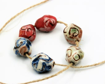 3 pairs rustic beads, blue green pink, white, oval misshapen, enameled, tribal, ethnic, ceramic components for jewelry, pottery bead, unique
