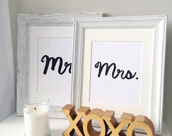 Mr. and Mrs. Hand lettered Art Prints, Mr. & Mrs. Sign