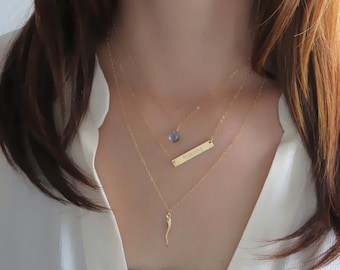 Teeny Tiny Gemstone Necklace • Layering Jewelry • Delicate Gemstone Drop • Bridesmaid Gift • Simple Gem • Layering Necklace
