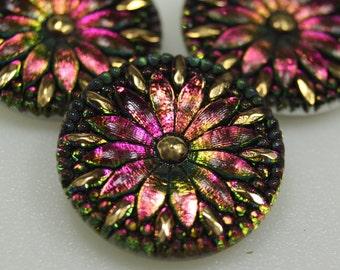 Czech Glass Button 33mm Vintage