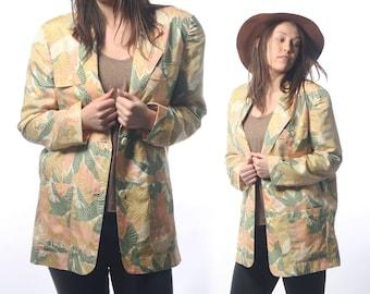 PALM SPRINGS 1980s Silk Tropical Blazer / Size Medium
