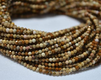 5 Strands, 2.20mm Picture Jasper Beads, Micro Faceted Rondelles Beads, Jasper Rondelles, Gemstone beads 12.5 Inches