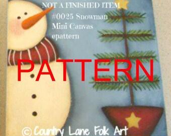 EPATTERN, 0025 Snowman mini canvas, snowman painting patterns, Tole painting pattern, Christmas pattern, decorative painting, wood crafts