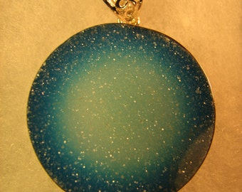 Blue Druzy with Sterling Silver Pendant