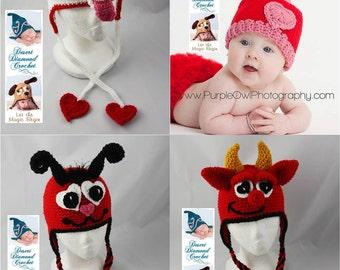 Crochet Pattern - Valentine's Day Hat Pattern Pack 1 - 4 Patterns - All Sizes