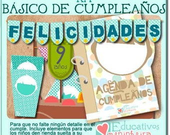 Kit imprimible de cumpleaños -español-