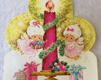 Vintage Pink Stand-Up CHRISTMAS Greeting Card, Pretty Pink Angel UNUSED Xmas Card with Envelope, Shabby Chic Angel Card, 1970's