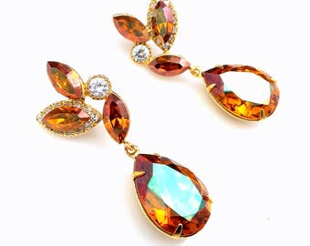 Swarovski crystal copper rhinestone teardrop earrings with marquise gold cz post earrings bridal bridesmaid gift prom party wedding jewelry