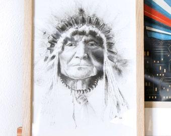 Portrait d'amérindien, format A4 série limitée 10 exemplaires signés et numérotés à la main. Fait main, crayon à papier vendu sans le cadre.
