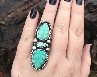 Triple Stone Carved Turquoise Leaf Handmade Sterling Silver Ring. Boho Jewelry. Size 7
