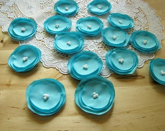 Fabric flowers, flower appliques, sew on appliques, flowers for crafts, floral embellishments, wedding supplies (15 pcs)- ROBINS EGG BLUE