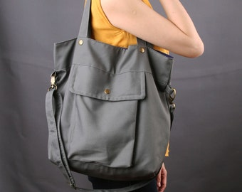 Sale 25%OFF-Ready To Ship-Gray Casual Tote/messenger bag/shoulder bag/school bag/laptop bag/handmade bag/sling bag/purse/For Her/For Him-083