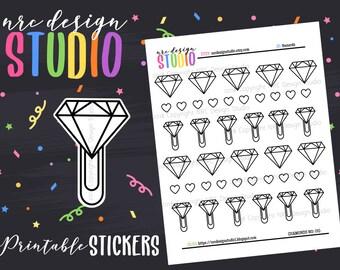 SALE Planner Stickers Printable, Diamond Stickers, Paper Clip Planner Stickers - Diamonds No. 05