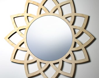 Modern LOTUS WALL MIRROR wall decor wedding gift for wife gift for family modern round mirror wedding present housewarming gift lotus mirror
