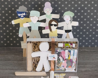 Craft Kit Puppets for Kids and Adults the Hipsters Addition Set of 30