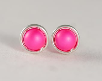 Hot Pink Earrings Neon Pink Earrings Wire Wrapped Jewelry Handmade Sterling Silver Earrings Neon Pink Studs Swarovski Pearl Jewelry