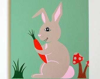 """Bunny Nursery Art, Bunny painting, Woodland Nursery decor, Bunny Rabbit, Baby girl decor, Rabbit Art, Forest friends, 10"""" x 12"""" canvas"""