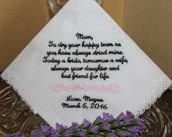 Wedding gift for parents - wedding hankerchief - embroidered wedding handkerchief - mother of the bride gift