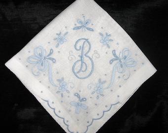 Wedding Handkerchief, Initial Monogrammed Monogram Hankies Vintage Blue B G M E L R D F A or H